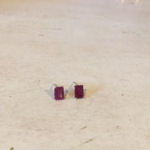 Ruby earrings set in sterling silver